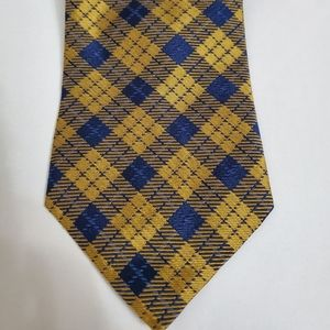 Brooks Brothers Silk Yellow and Blue Plaid Tie